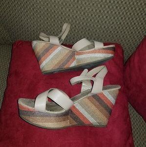 Striped Wedge Platform Sandals